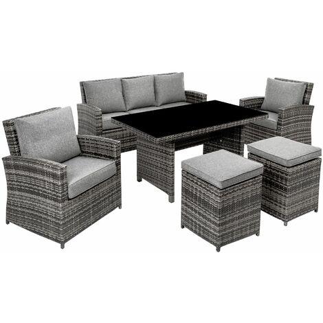 Aluminium Rattan Sitzgruppe Miami mit Sofa - Gartenlounge ...