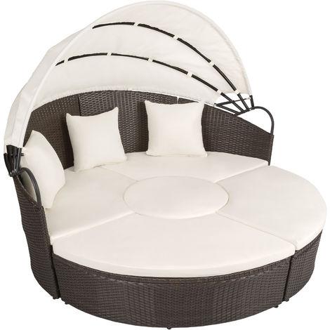 Rattan sun lounger island aluminium - garden lounge chair, sun chair, double sun lounger - antique brown
