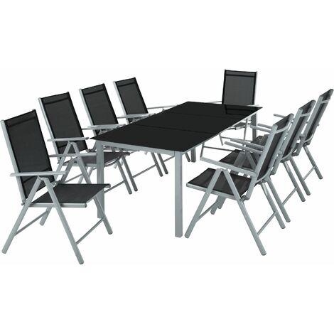 Aluminium Sitzgruppe 8+1 - Gartentisch, Gartenstuhl, Sitzbank