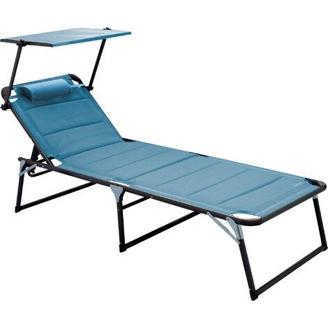 Aluminium Sonnenliege Gartenliege XXL Alu Liege mit Dach Dreibeinliege Textilene blau 200x70 cm bis 150kg Quick Dry Foam