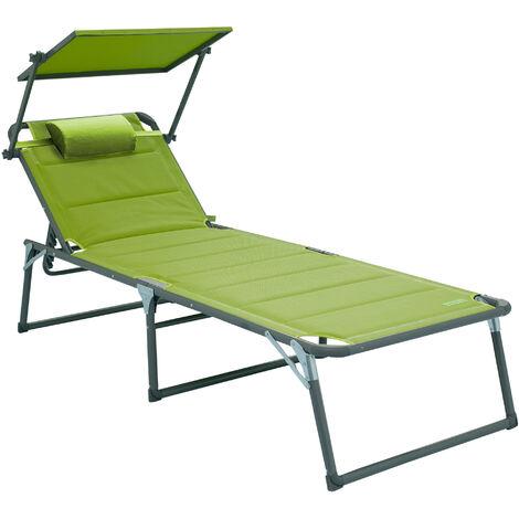 Aluminium Sonnenliege Gartenliege XXL Alu Liege mit Dach Dreibeinliege Textilene grün 200x70 cm bis 150kg Quick Dry Foam