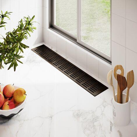 Kunststoff schwarz TS 40 mm Lüftungsgitter für Zimmertüren 454 x 90 mm