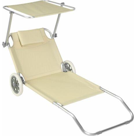 Sun lounger with wheels - sun chair, foldable sun lounger, folding sun bed - beige - beige