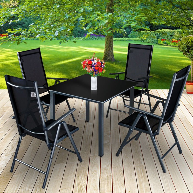 fa9e433659a2 Aluminium Table Chairs Set Deuba 4 Seater Glass Table Top Foldable Chairs