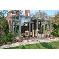 Aluminium-Wintergarten mit Glasdachplatten und Doppeltür