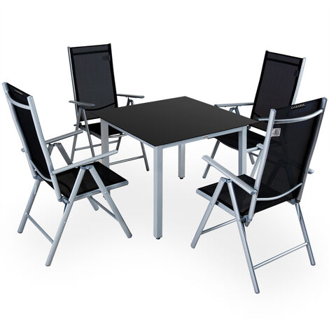Aluminum Chair Table Set 4 Seater Garden Furniture Outdoor Recliner Glass Deuba