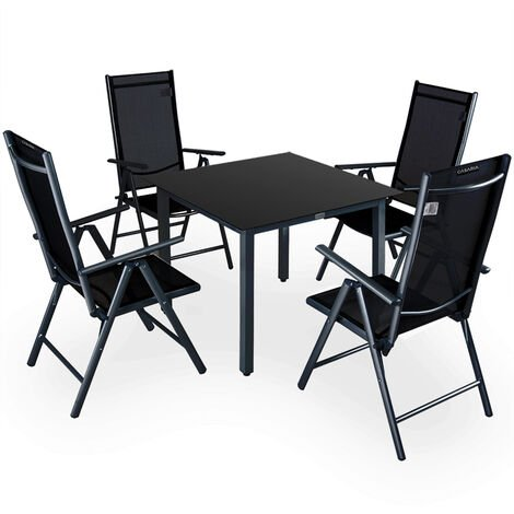 "main image of ""Aluminum Chair Table Set 4 Seater Garden Furniture Outdoor Recliner Glass Deuba"""