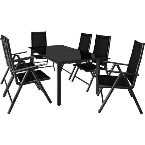 Aluminum Chair Table Set 6 Seater Garden Furniture Outdoor Glass Steel by Deuba