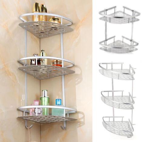 Aluminum Corner Storage Rack Holder Shelf Bathroom Toilet Bath Space Saving Unit