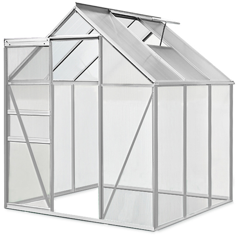 Aluminum Greenhouse Deuba 5.85 Square Meter Windows Rain Gutter L 75 x W 77 x H 71 Inches