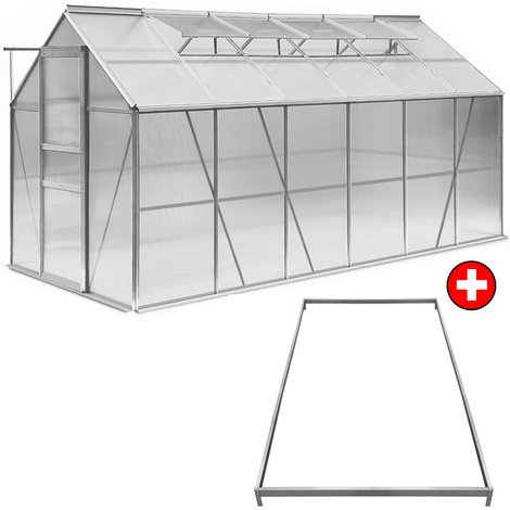 Aluminum Greenhouse with 4 Windows 380 x 190 x 195 cm