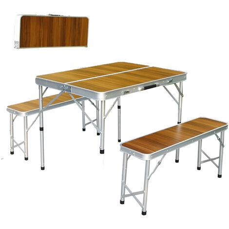 Aluminum Portable Folding Patio Camping Picnic Table 4 Person Seats Chair Stool Wood Grain