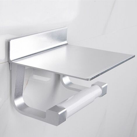 Aluminum Wall Mounted Toilet Paper Holder Phone Holder Bathroom Kitchen No Punch Needed Stainless Steel Toilet Roll Holder Bathroom Tissue Holder Wall Storage Hook (Silver)