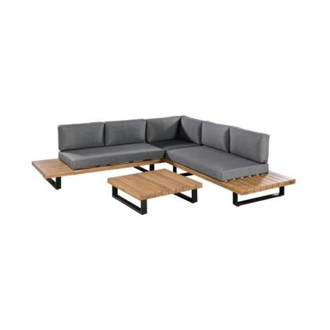 ALUXE Salon de jardin avec canape dangle L 255 x l 255 cm + Table ...