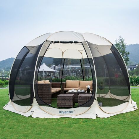 Alvantor Screen House Gazebo, 12-15 Person Pop Up Igloo Dome Screened Canopy Shelter Camping Tent with Mosquito Netting Mesh Side Wall, Instant UV Resistant Sun Shade for Garden, Patio, Backyard