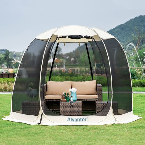 Alvantor Screen House Gazebo, 4-6 Person Pop Up Igloo Dome Screened Canopy Shelter Camping Tent with Mosquito Netting Mesh Side Wall, Instant UV Resistant Sun Shade for Garden, Patio, Backyard