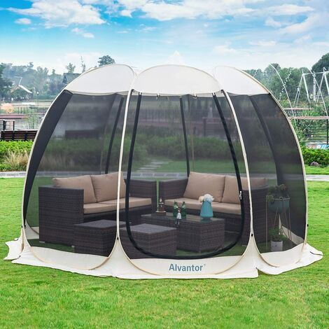 Alvantor Screen House Gazebo, 8-10 Person Pop Up Igloo Dome Screened Canopy Shelter Camping Tent with Mosquito Netting Mesh Side Wall, Instant UV Resistant Sun Shade for Garden, Patio, Backyard