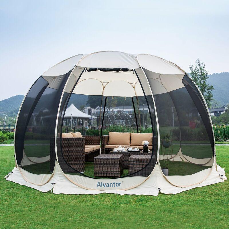 Tente de Jardin, Moustiquaire Tonnelle de Réception pour 12-15 Personnes, Pliable Pavillon Tente d'extérieur, Protection UV, pour Fête Camping Jardin