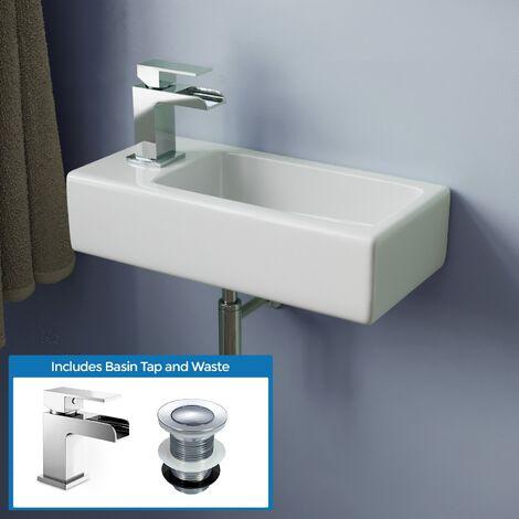 Alvey 360mm Bathroom Wall Hung Cloakroom Left Basin Waterfall Mono Tap Waste