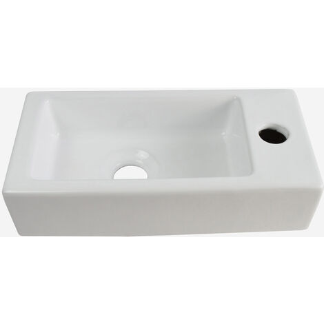 Alvey 360mm Bathroom Wall Hung Cloakroom Right Basin Waterfall Mono Tap Waste