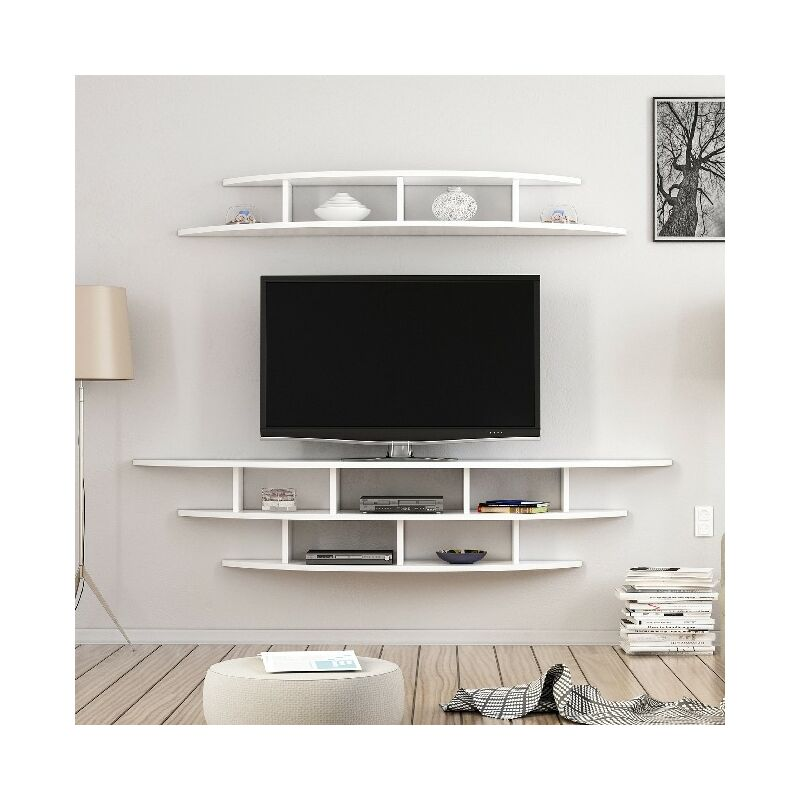 Homemania - Alvino TV-Schrank - Modern aus Mauer - mit Einlegeboden, Einlegeboeden - vom Wohnzimmer - Weiss aus Holz, 176 x 35 x 35 cm