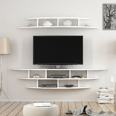 Alvino TV Stand - with Shelves - for Living Room - White, made in Wood, 176 x 35 x 35 cm