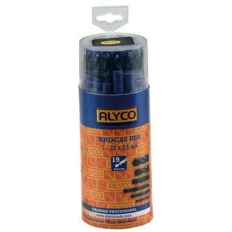 ALYCO 121335 - Juego 19 brocas HSS para metal en tubo de plastico (1 10x0.5 mm )