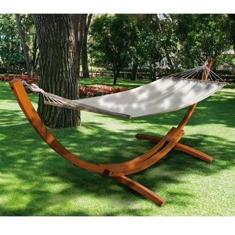 Amaca doppia telo in cotone con asse in legno cm 150x200 per giardino esterno