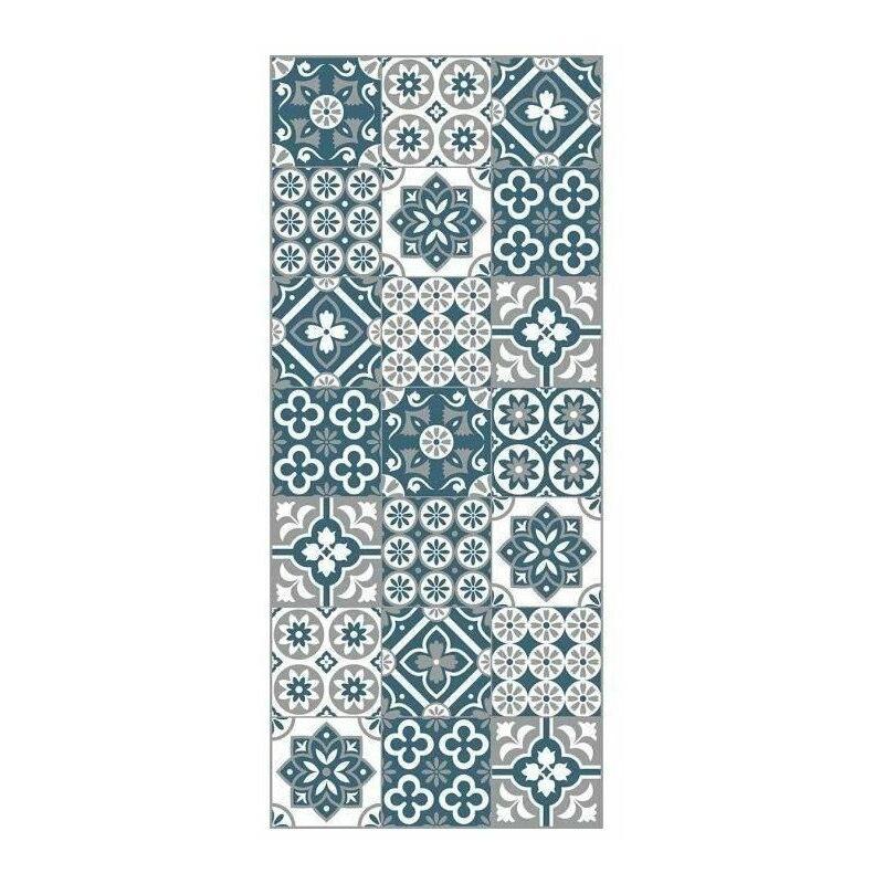 AMADORA Tapis 100% vinyle - Imitation carreau de ciment - 49,5x112,5 cm -  Epaisseur 1,5 mm - Bleu, blanc et gris
