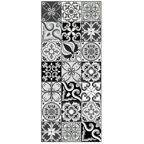 AMADORA Tapis 100% vinyle - Imitation carreau de ciment - 49,5x112,5 cm - Épaisseur 1,5 mm - Noir et Blanc