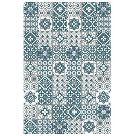 AMADORA Tapis 100% vinyle - Imitation carreau de ciment - 99 x 150 cm - Épaisseur 1,5 mm - Gris et Bleu