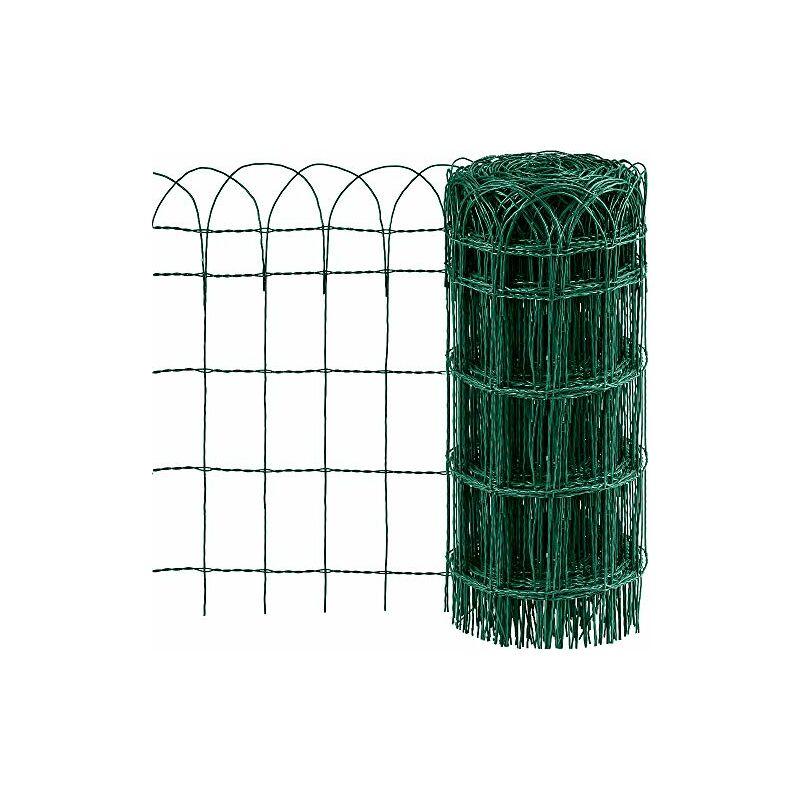 0.65M x 25M Clôture de Jardin Bordure de Jardin Décorative Pliable Clôture Rouleau en métal RAL6005 Metallique Le Motif Protection pour Plantes