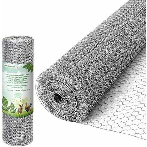 Amagabeli 0.5Mx25M Grillage à Poule 13mm Galvanisé Maille Hexagonal Cloture poulailler voliere Poulailler Jardin Triple Torsion Élevage Volaille Filet résistant aux Intempéries