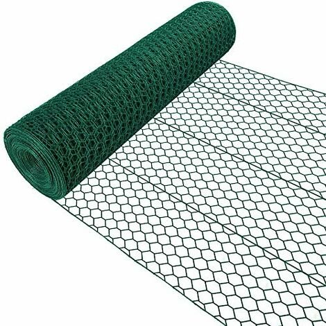 Amagabeli 1.22M x 25M Grillage Jardin 25.4mm Grillage à Poule Cloture Jardin RAL6005 PVC Maille Fine Hexagonal Grillage poulailler Bordures Grillage Triple Torsion Voliere HC05