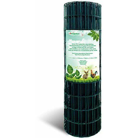 Amagabeli 1.2M x 25M Grillage Jardin Fil 50 x 50 mm Grillage Simple Torsion Vert Métallique Grillage Cloture Jardin en Acier et PVC RAL6005 HC03 - Taille 2.4MM 50*50MM 1M*25M
