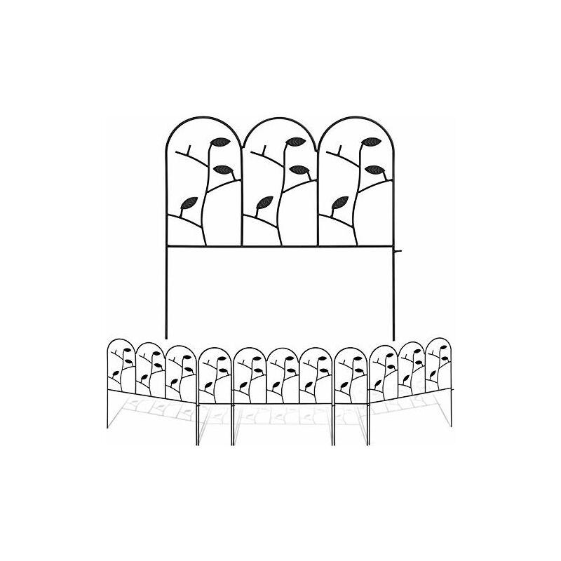 46 cm x 214 cm Clôture Décorative en Métal Pour Jardin Motif Paysage et Barrière de Jardin Noir Lot de 6 Panneaux Extérieurs - Amagabeli