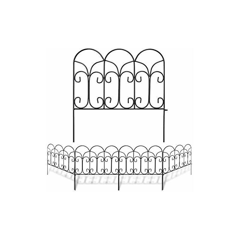 46 cm x 230 cm Clôture Décorative Métal Pour Jardin Motif Paysage et Barrière Barriere de Jardin Noir - Amagabeli