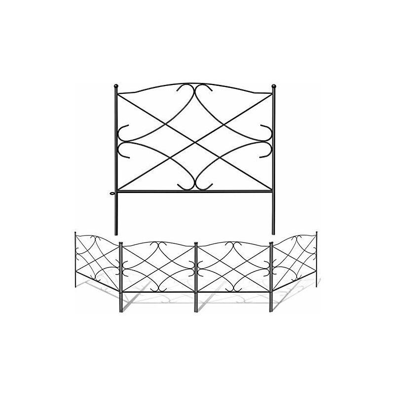 60CM x 300CM Clôture Décorative, en Métal pour Jardin Motif Paysage et ,Barrière Noir - Amagabeli