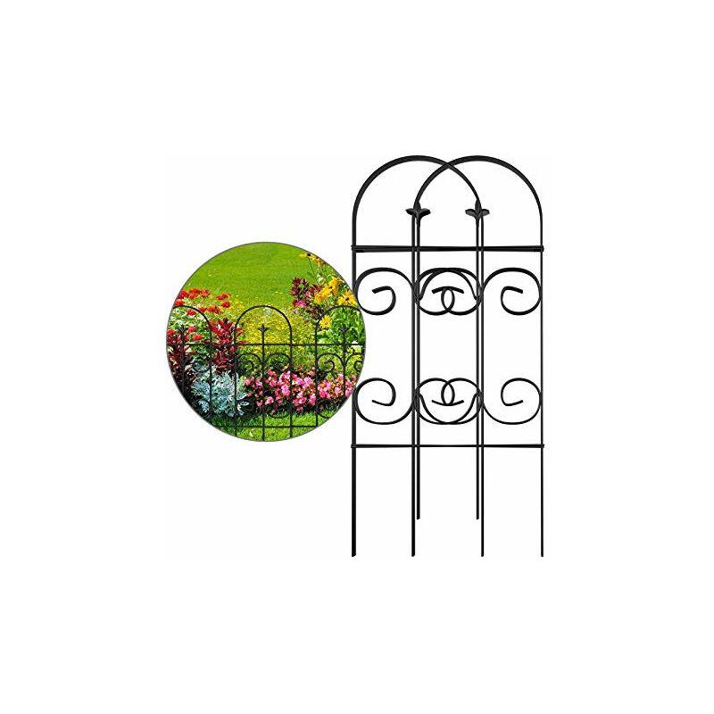 ?81CM X 38CM X 8 Clôture Décorative Métal pour Jardin? Motif Paysage et Barrière Barriere de Jardin ?Noir - Amagabeli