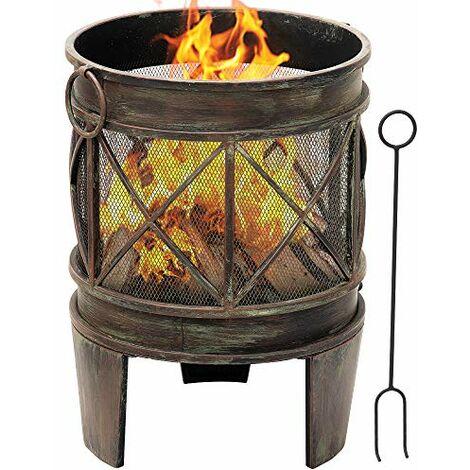 Amagabeli Brasero Exterieur pour Jardin 58 x 42 cm Portable Cheminée Foyer Extérieur pour Terrasse,Tisonnier et Grille Inclus, Chauffage de Ménager Fire Pit