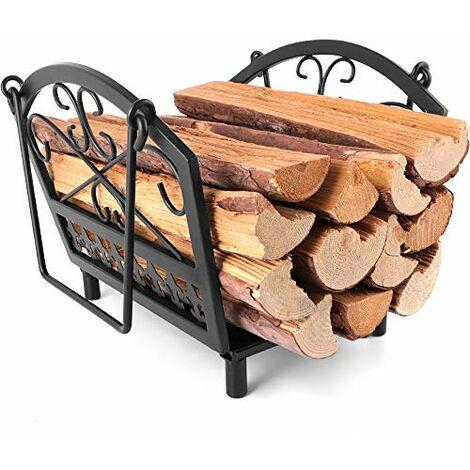 Amagabeli, panier à buches 36 x 32 x 31.5cm, panier a bois cheminee, buches Porte-bûches de cheminée Support ,À Bois De Chauffage Acier de cheminée, range bois Intérieur/extérieur Poêle À Bois