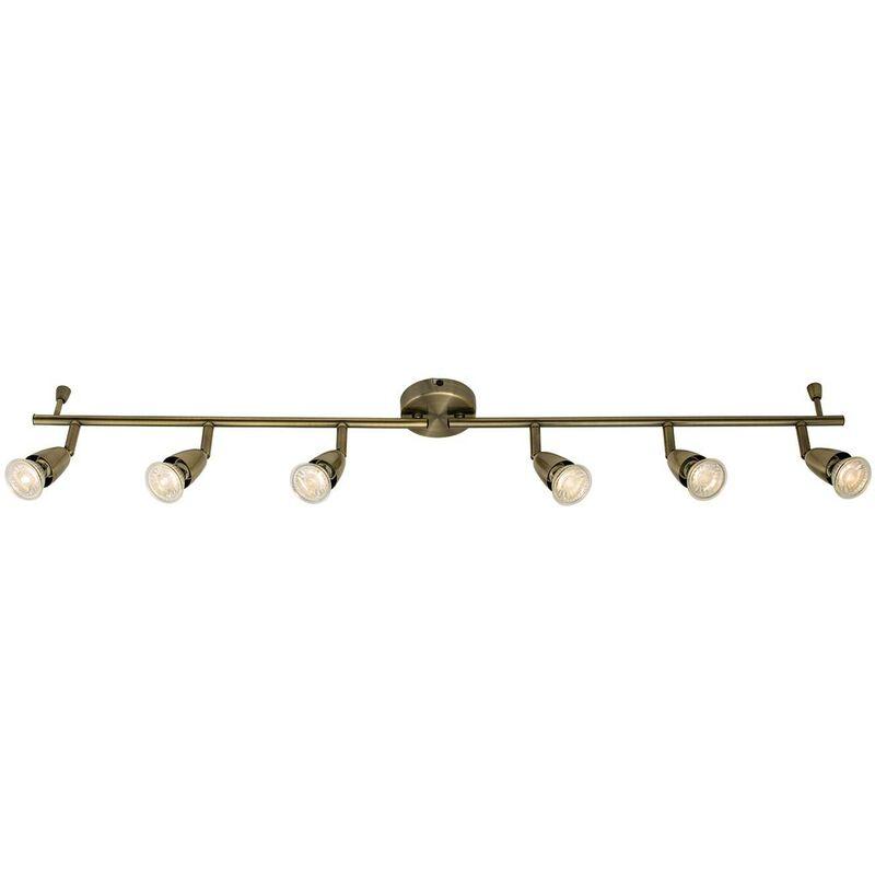 Image of Endon - Adjustable 6 Light Spotlight Antique Brass, GU10 - ENDON DIRECTORY LIGHTING