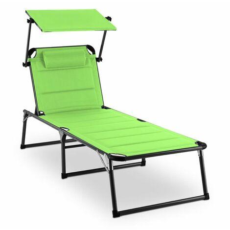 Amalfi Juicy Lime Sun Lounger 70x37x200cm Sunshade Green