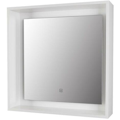 "main image of ""Amalfi White Framed LED Mirror 600mm x 600mm"""