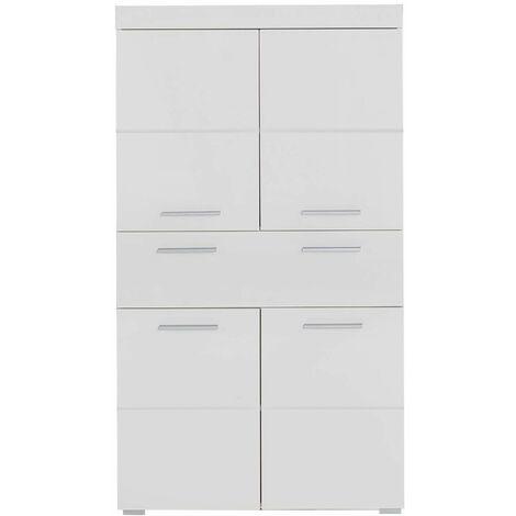 AMANDA - Meuble de salle de bain mélaminé - Meuble Commode. Blanc brillant. L/H/P : 73 / 132 / 31 cm - Blanc