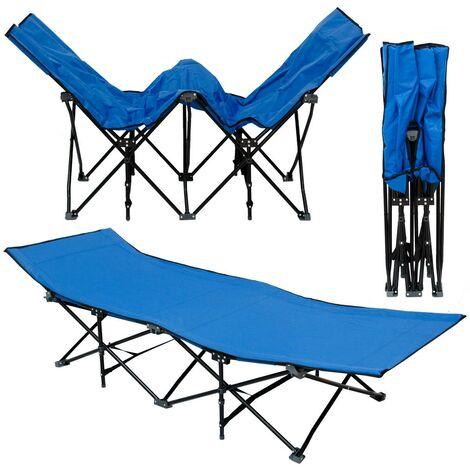 AMANKA Faltlbett Faltliege Feldbett Blau Camping-Metall-Klappiege ca. 190x70cm