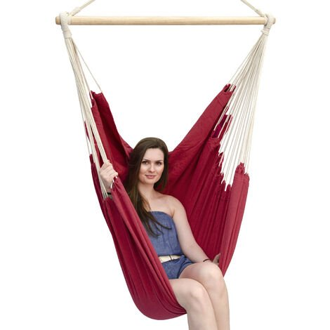AMANKA Fauteuil Suspendu pour asseoir 2 personnes Hamac 185x130cm chaise 100% coton balançoire XXL 150kg siège pour se balancer avec pivot 360° Bordeaux Rouge