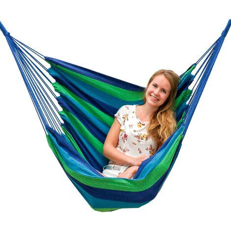 AMANKA Hamac 110x145cm Siège Suspendu en toile chaise suspendue balançoire en coton max 150kg Rayures Bleues et Vertes