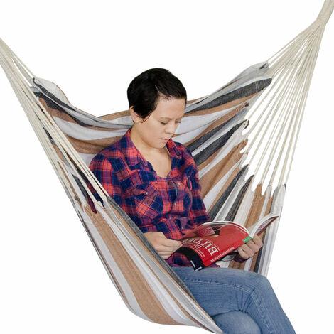 AMANKA Hamac 110x145cm Siège Suspendu en toile chaise suspendue balançoire en coton max 150kg Rayures Marrones et Beiges