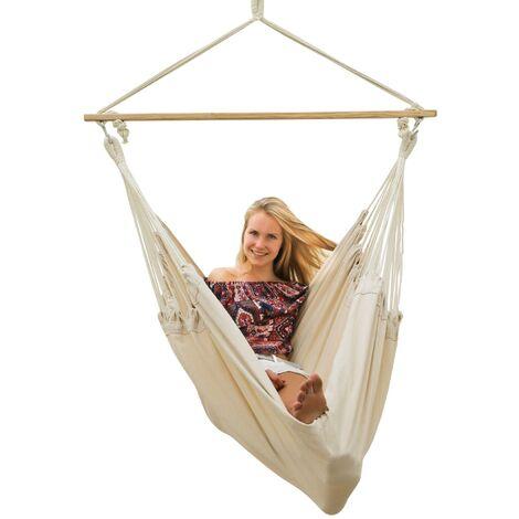 AMANKA Hamac 185x130cm EXTRA-SÛR Siège Suspendu balançoire en coton XXL grande chaise suspendue en toile max 150kg Beige